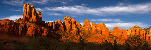 pan27:  Late light on the red-rock peaks and spires of Mund's Mountain, east of Sedona, Arizona
