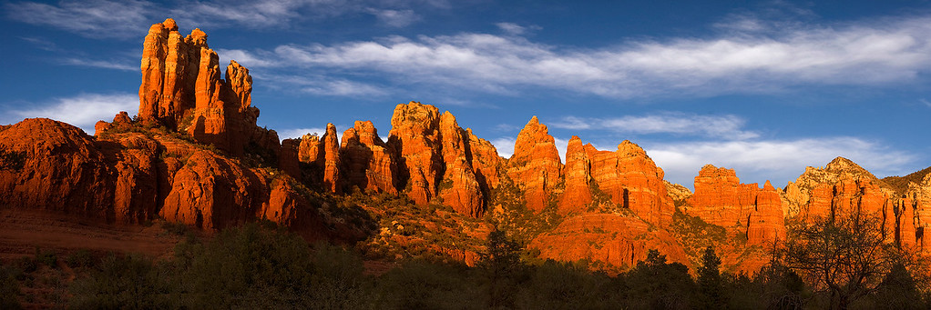 Late light on the red-rock peaks and spires of Mund's Mountain, east of Sedona, Arizona