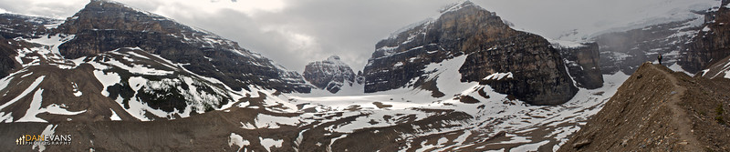 Panorama from the Plain of Six Glaciers hike. Mt. Aberdeen on the left, Lefroy in the middle, and Victoria Glacier on the right