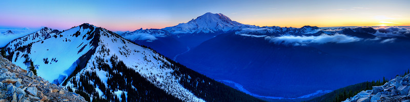 The sun sets by Mount Rainier, view from Crystal Mountain<br /> <br /> 7 vertical shots & 5 exposure bracket HDR processed with Photomatix and CS4
