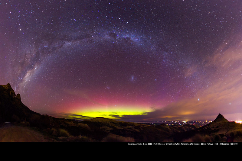 Aurora Australis captured outside Christchurch, New Zealand on the 1st June 2013. This image is a 54mp panorama of 7 fisheye shots taken at 15mm, F2.8, 30 seconds exposure with a Canon 1d4.