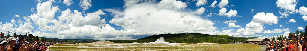 Old faithful amphitheater<br /> <br /> A 'young' crowd gets ready to experience the 'old' performance from the most fameous Geyser in the planet, the so called 'Old faithful geyser', that has been doing for centuries, every 90 minutes these days!!!