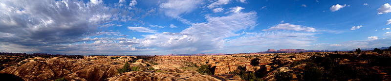 2005-CanyonlandsNP   Panoramic view of the Needles District, Canyonlands National Park, Utah