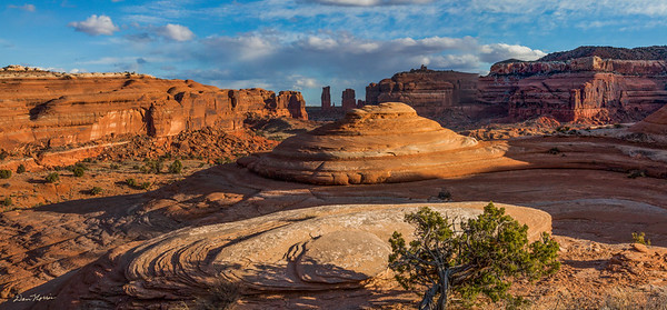 Panorama view of Determination Towers from Tusher Canyon. Northwest of Moab, Utah.