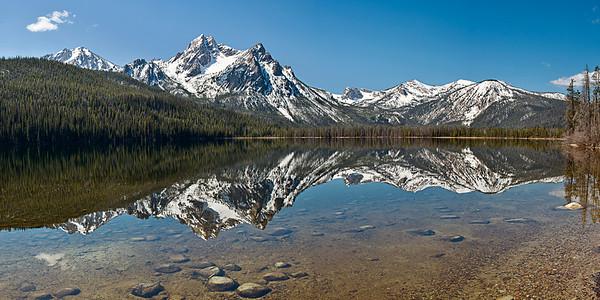 Phyllis's panorama of Mount McGowan reflecting in Stanley Lake
