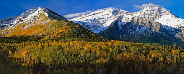 changing seasons on Mount Timpanogos, Wasatch Range, northern Utah