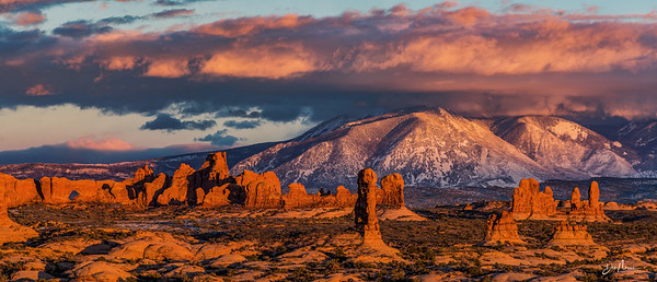 North Window, La Sal Mountains And Red Rock Towers
