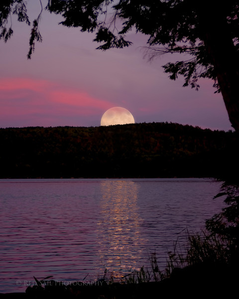 """Moon Over Parks Pond""...The setting sun created the red sky for the rising full moon. Image take from my dock on Parks Pond in Clifton, Maine........ This shot is the result of several images stitched together."