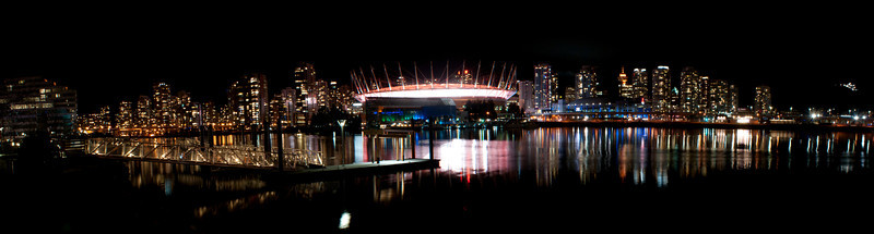 Vancouver False Creek at night panorama