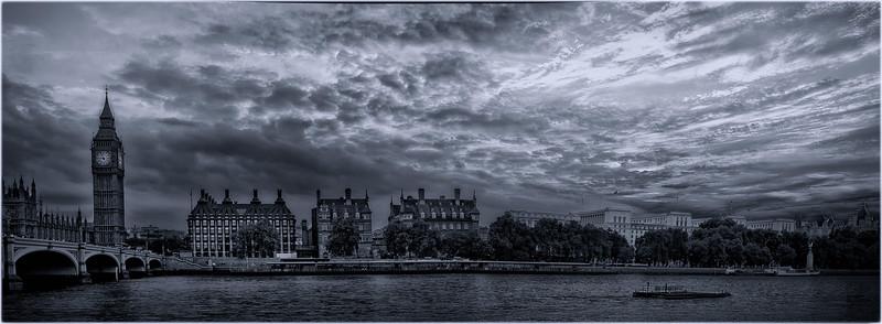 River Thames Big Ben Pano B & W