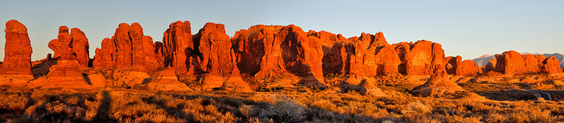 Panorama of the Garden of Eden area at sunset, Arches National Park, by Phyllis