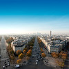 Paris Skyline panorama from Arc de Triomphe.