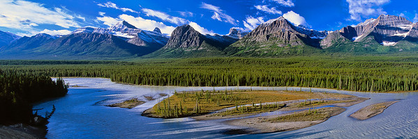 Saskatchewan River and Canadian Rockies scene along the Icefields Parkway between Banff and Jasper.