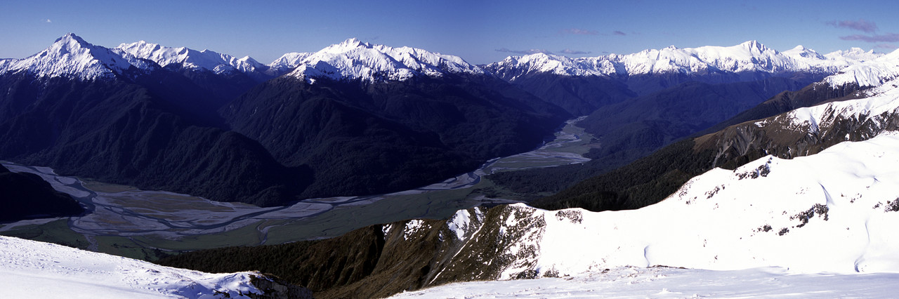Landsborough and Haast Rivers from the top of Mt Ramsay, Bealey Range