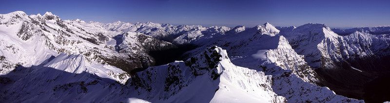 Panorama from the summit of Mt Barff, Mt Aspiring National Park