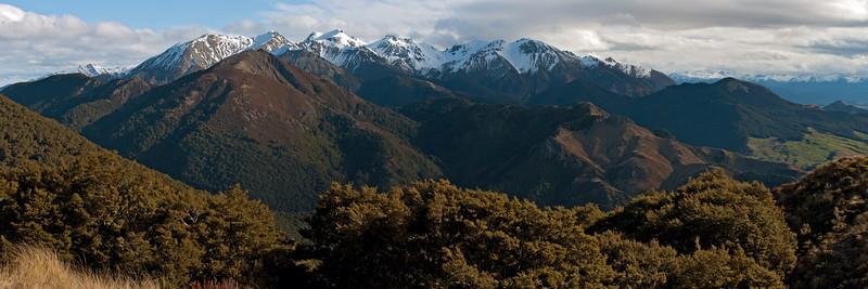Clare Peak and Brown Peak from the north ridge of Mt Hamilton, Takitimu Mountains