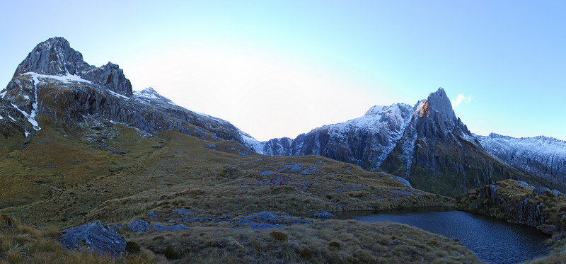 The Buttress, McCullaugh Saddle and Douglas Spur from the tarn south of Tunnel Creek rock bivvy, Paringa River, Westland