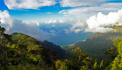 Looking down on the Na Pali coastline, Kauai