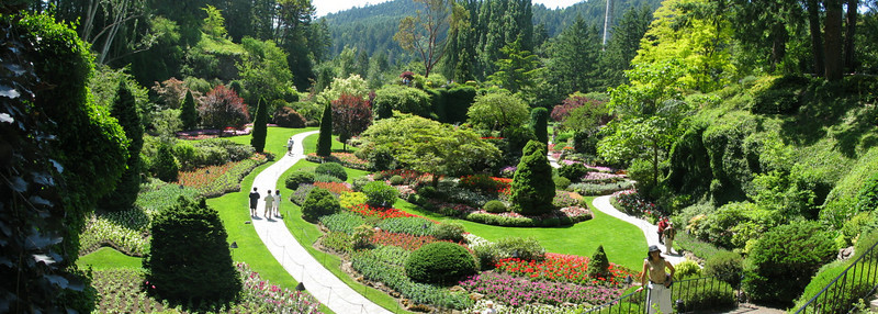 The lower garden at Butchart Gardens in Victoria BC.
