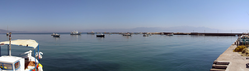 Koroni harbor, Taygetos Range in background, Poloponnese, Greece<br /> Casio Exilim Z-120 (three image photomerge)