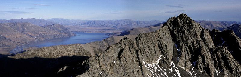 Lake Ohau and Steeple Peak from the summit of Bruce Peak, Temple Stream