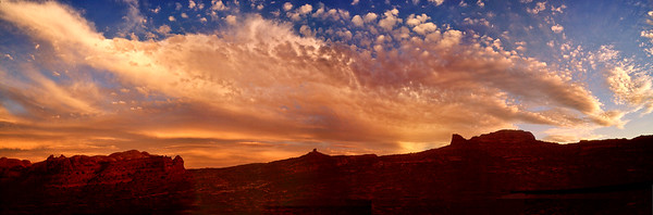 Amazing sunset looking east over the Moab Rim from Kane Creek road.