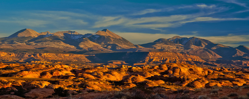 pan43:  Late light on the petrified sand dunes, Arches National Park