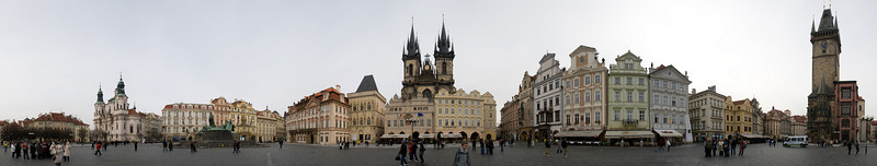 Panoramic view of Prague's City Square in Old Town.  This is nearly a 360 degree view from the center of the square.