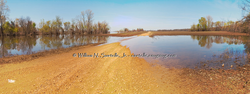 The Mississippi River - near flood stage and falling<br /> Randolph, Tipton County, Tennessee<br /> Ballard Slough Road