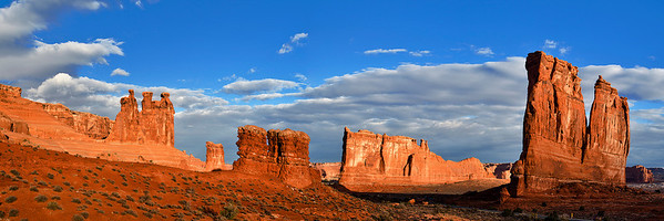 pan44:  Early light on the Courthouse Towers area, Arches National Park