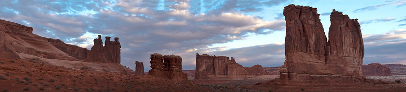 Phyllis's panorama of the Courthouse Wash area before sunrise; Arches National Park