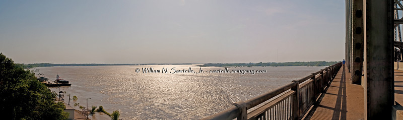Mississippi River from East end of Memphis Arkansas Bridge<br /> May 7, 2011 - Stage 46.8+/-