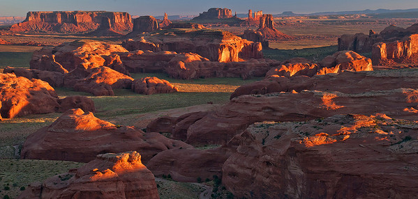 Sunrise on Monument Valley, as seen from atop Hunt's Mesa, Navajo Nation, Arizona