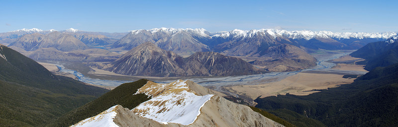 Waimakariri River from peak 1709. Sugarloaf and Cass Hill at centre image
