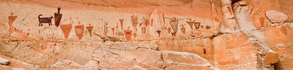 pan36:  Another pictograph panel in Horsehoe Canyon, Canyonlands National Park.
