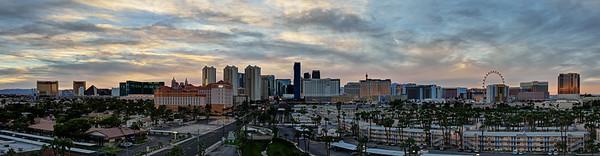 Las Vegas strip panoramic at sunset