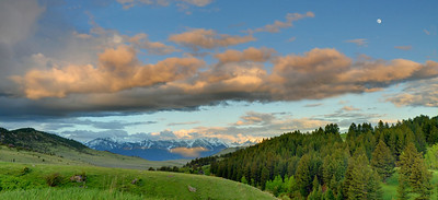 Panoramic of Trail Creek area, looking east to the Absaroka - Beartooth Mountains with the moon rising. Photography by Jim R Harris Bozeman Montana Photographer.