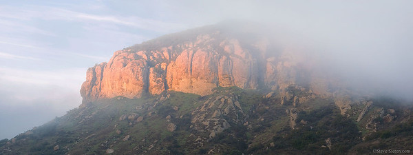 Chicken Rock in the Santa Monica Mountains covered in fog.