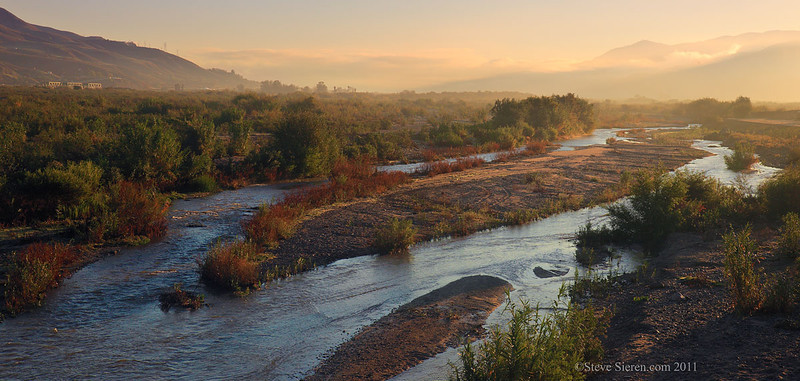 The Santa Clara River flowing towards the Pacific Ocean in Southern California