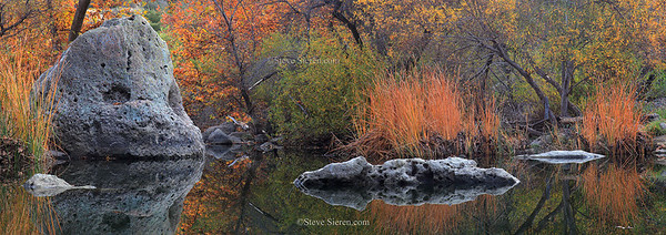 Autumn reflections in the Santa Monica Mountains near Los Angeles, Southern California