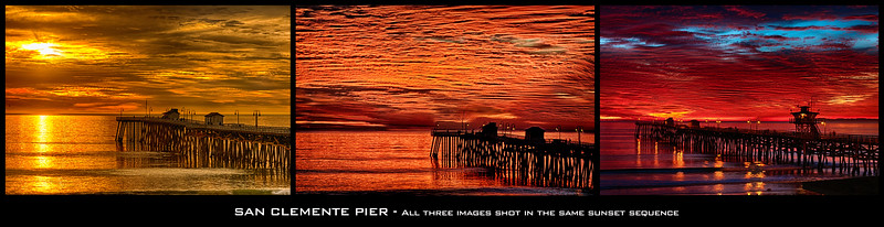 """Fire"" sunset at San Clemente Pier"
