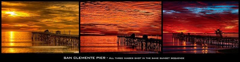 """""""Fire"""" sunset at San Clemente Pier"""