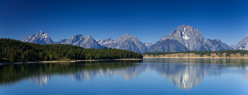 Reflection of Grand Tetons on Jackson Lake