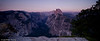 Panoramic view of the valley at dusk.<br /> Yosemite valley, Yosemite National Park, California, USA.