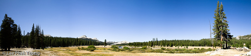 Panoramic view, arly morning at Tuolumne Meadows.<br /> Tuolumne Meadows, Yosemite National Park, California, USA.