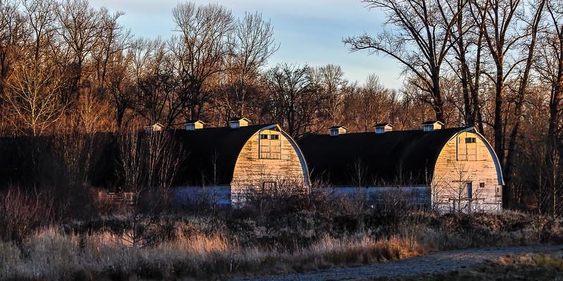 Twin Barns Sunset Nisqually Wildlife Refuge
