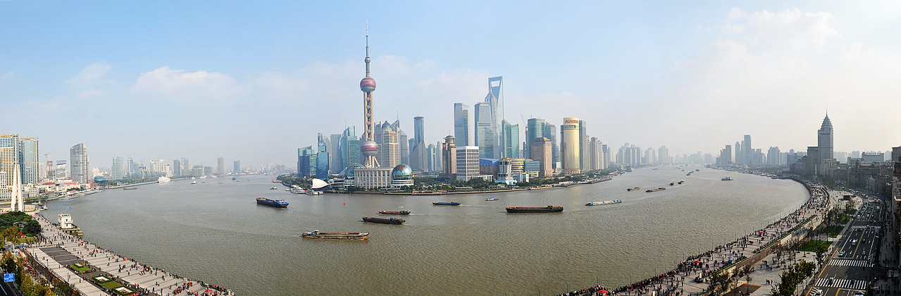 Shanghai - panoramic view of Pudong from top of the Fairmont Hotel on the Bund.