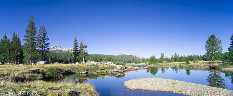 Tuolumne River at Tuolumne Meadows in the early morning.<br /> Tuolumne Meadows, Yosemite National Park, California, USA.
