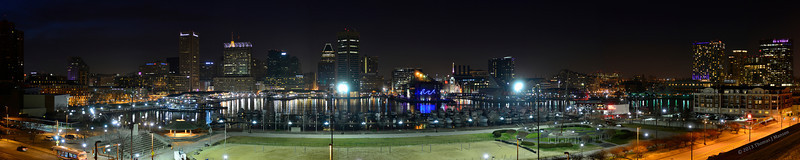 Baltimore's Inner Harbor at night.  Taken from Federal Hill Park with a D800 and Nikkor 28-300 zoom