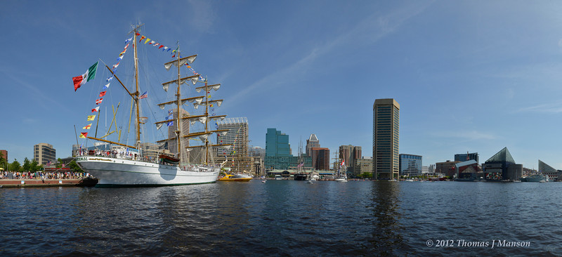 """Baltimore's Inner Harbor from water-side on """"Sail-a-bration"""" day celebrating the beginning of the War of 1812"""
